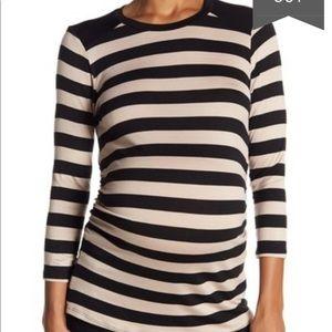 Nordstrom striped tan black maternity tunic XL